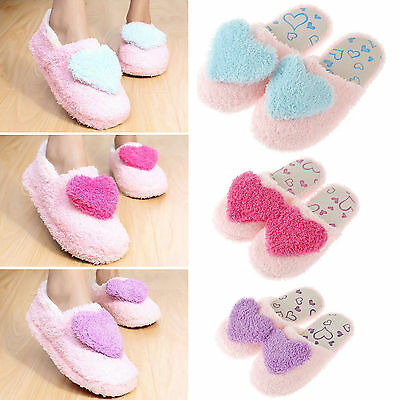 Womens Girls Winter Warm Soft Plush Heart Bedroom Slippers Shoes House Indoor