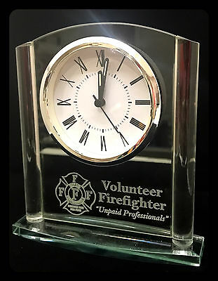 Volunteer Firefighter Glass Plaque with Clock, Fighting Fire for Free Shipping