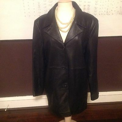 Alfani Outerwear Women's X- Large Black 100% Genuine Leather Trench Coat