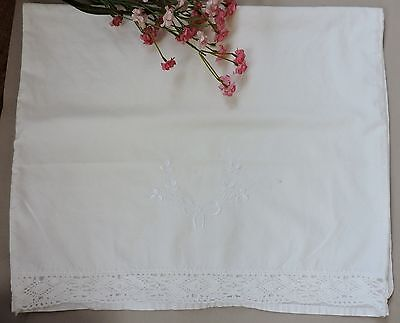 Vintage Pillow case with floral embroidery and lace