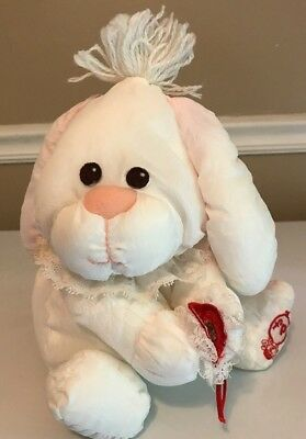 Fisher Price 1986 Puffalump Rabbit Bunny White With Red Heart Valentines Vintage