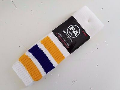 NOS Vintage Men's 1980 FA FOOTACTION Gold & Purple Band TUBE SOCKS Sz 8-12~ NEW