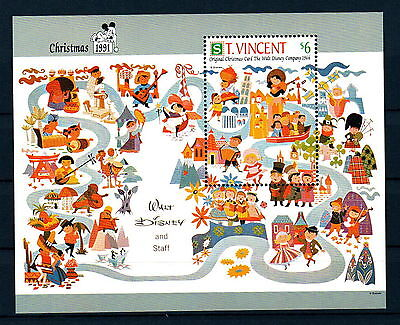 X0 Disney 394 St. Vincent SC# 1576 Christmas Cards Souvenir Sheet