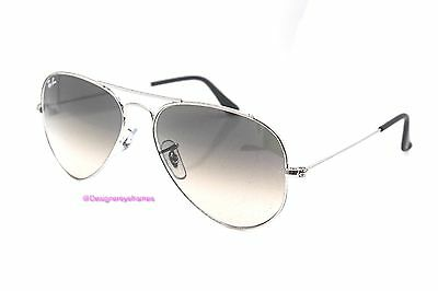 RAY-BAN RB 3025 003/32 Silver Gradient Gray 55MM Aviators Sunglasses NWT AUTH