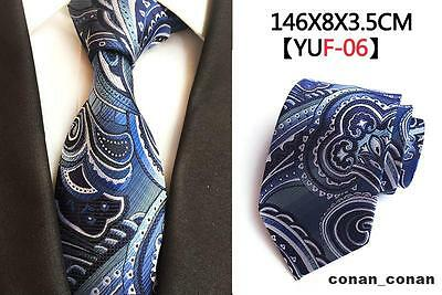 Blue and White Patterned Handmade 100% Silk Tie
