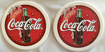 Two Coca-Cola Natural Stone Absorbent Coasters Cork Backing Coke Collectible New