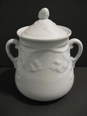 Antique White Ironstone Sugar Bowl.T & R Boote RARE Embossed Leaf Pattern