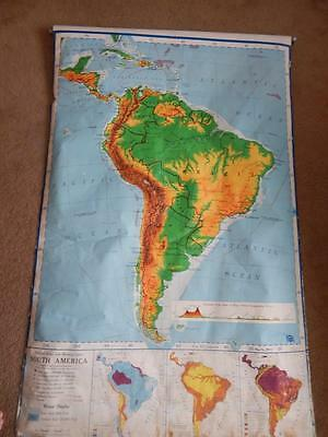 VTG SOUTH AMERICA PR 6 Pull Down Wall Map AJ Nystrom Paper Linen Back COLLECTIBL