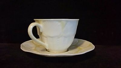 Vintage BELLEEK Shell Design Yellow Cob Luster Cup & Saucer,1st Green Stamp
