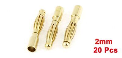 2mm Inner Dia Male Banana Plug Bullet Connector Replacement 20 Pcs
