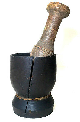 Antique PRIMITIVE Early American 19th Century MORTAR & PESTLE APOTHECARY Herbs