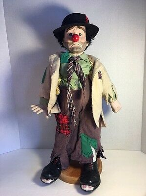 """Clyde The Hobo Clown Doll On Stand,  Dynasty Doll 20"""", Vintage Collectible"""