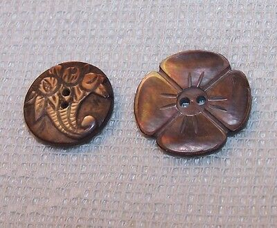 2 Vintage Carved Mother Of Pearl Shell Picture Button Floral Cornucopia Flower