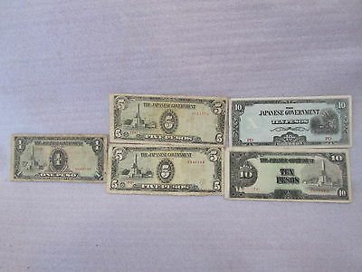 Lot Of 5 Rare Old Japanese Goverment Paper Money