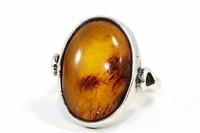 D211 Amber Genuine untouched Baltic Ring Sterling 5.8g 925 18x14mm size 7