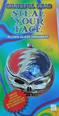 Grateful Dead Steal Your Face Blown Glass Christmas Ornament Limited Edition