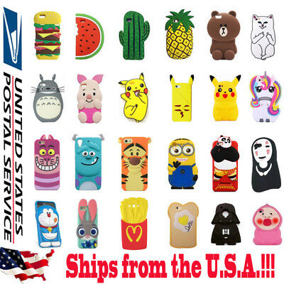 3D Cartoon Cute Animals Food Soft Silicone Kawaii Case Cover For Apple iPhone