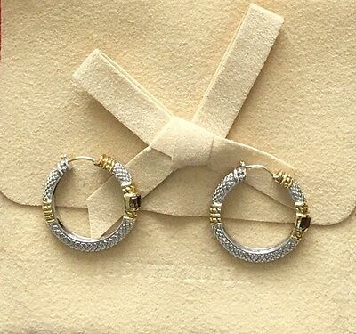 Judith Ripka Sterling Silver/18K Gold Hoop Earrings
