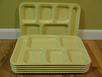 Lot Of 6 Dallas Ware 6 Compartment Cafeteria Lunch TV Food Tray YELLOW,  P-71