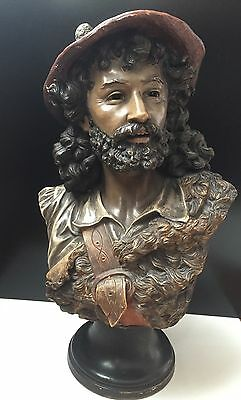 Polychrome Bust Of A Handsome Bearded Man 20""