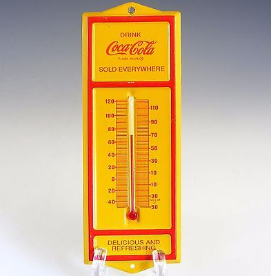 Vintage Coca Cola Coke Thermometer Tin Yellow Red Drink Sold Everywhere 6.5""