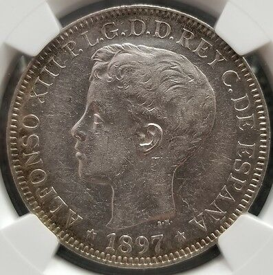 1897 US Philippines One Peso NGC AU 50