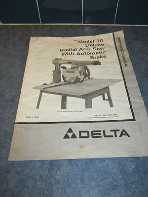 Delta 1985 Model 10 Deluxe Radial Arm Saw w/ Automatic Brake Instruction Manual