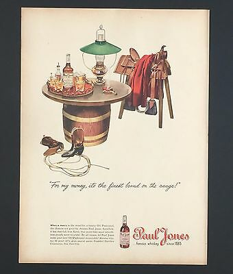 1945 Paul Jones Whiskey Advertisement Saddle Cowboy Boots Original Print AD