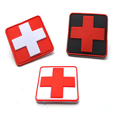 3 Pcs Jtg Medic Red Cross Paramedic Tactical Army U.s. Morale Pvc Rubber Patch
