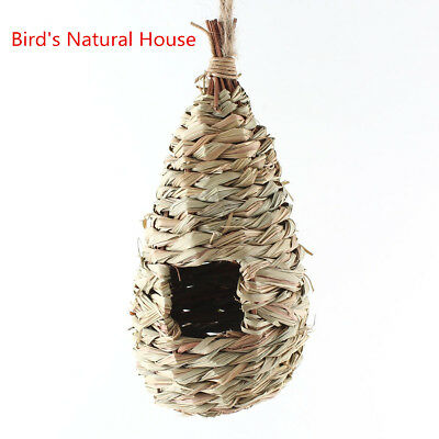 Handwoven Straw Bird Nest House Parrot Hatching Breeding Natural Pet Grass Cave
