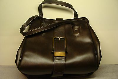 COOL VINTAGE CONTINENTAL 1960s BROWN Doctor bag Purse Leather Cigarette Handbag