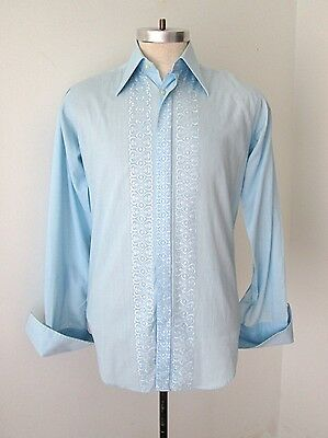 Vtg 70s St Michael Blue Embroidered Geometric Hearts Tuxedo Shirt French Cuffs S