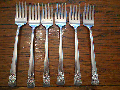 6 Rogers 1954 Mountain Rose Pattern Salad or Dessert Forks IS Silverplate