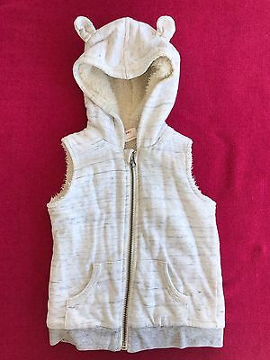 Seed Heritage Baby Fleece Lined Hooded Vest With Teddy Ears. Size 12-18 Mths