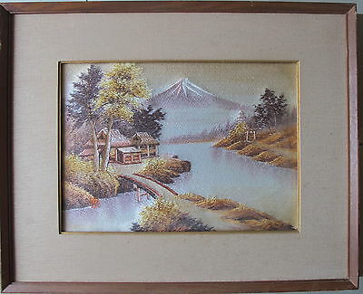 signed~by an Asian artist~Handcrafted Landscape~originally framed