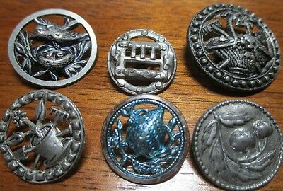Great!! Lot Of 6 Vintage Antique Pewter Picture Buttons~Hinge~Bird~Fruit~Basket