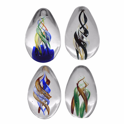 New Art Glass Paperweight Egg Shaped Spirals Set of 4 Size 5 x 5 x 7.5 cm