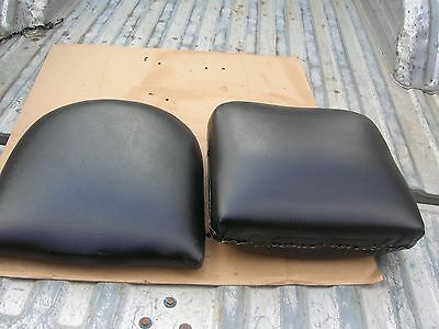 Antique Koken Barber Shop Chair Black Seat Bottom & Back Cushions Plus