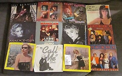 80s VINYL POP RECORD Lot of 12 45 RPM MADONNA Heart BLONDIE Bangles PIC Sleeve