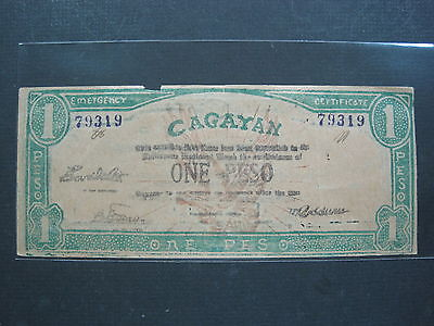 Philippines Cagayan 1 Peso 1942 #r Wwii Guerrilla Emergency Banknote Paper Money