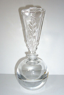 Antique Art Deco Perfume Decanter Bottle Clear Lead Glass Tall Dauber Top 8.25""