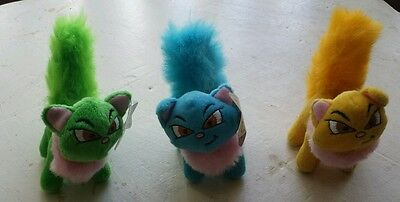 Neopets~Green~Blue~Orange Wocky~Plush Kitty~2004~Lot Of 3