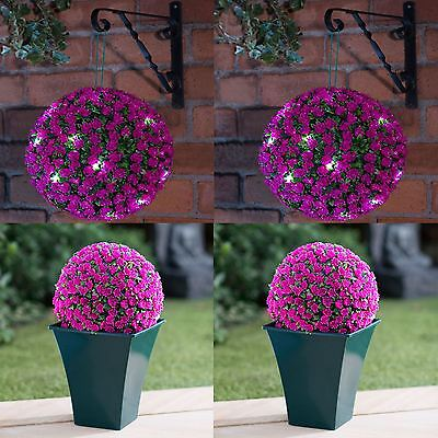 20 LED Warm White 28CM Diameter Pink Rose Solar Topiary Ball Christmas Outdoor