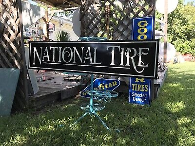 Antique Vintage Old Style National Tires Sign