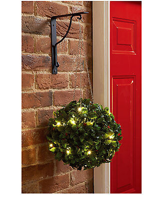 20 LED Warm White 28CM Diameter Holly Berry Solar Topiary Ball Christmas Outdoor