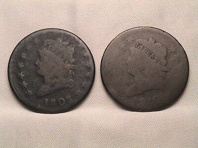 1808 & 1810 Pair of Classic Head Large Cents!