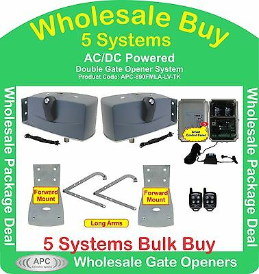 Bulk Buy of 5 x 24V Low Voltage Extra Heavy Duty Double Swing Gate Systems
