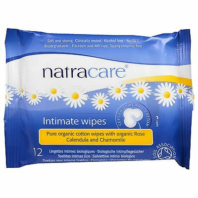 Natracare Intimate Wipes Feminine Hygiene Care 12 Pack 100% Organic Cotton