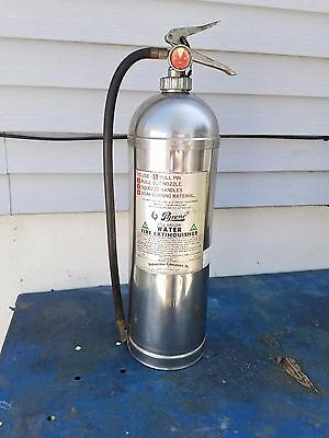 """Vintage Chrome Stainless Steel Pyrene 2 1/2"""" Gallons Water Fire Extinguisher"""
