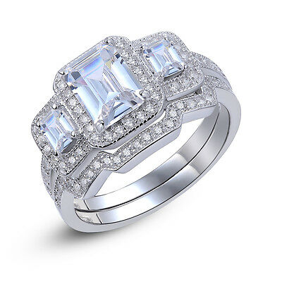 New Emerald Cut CZ 925 Sterling Silver Engagement Ring Band Set Women's Size 7